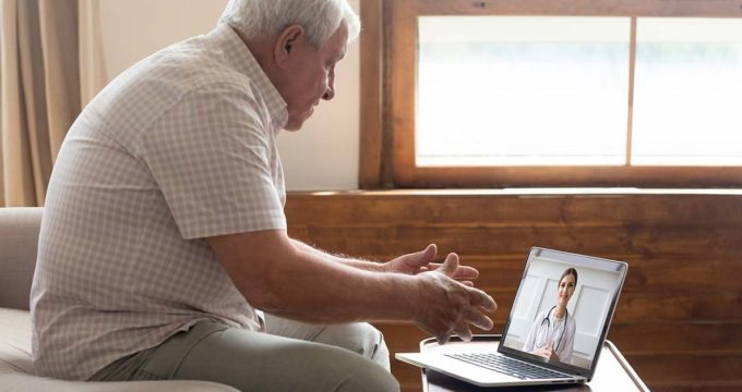 video consultation on laptop | Health Care Supplier Advertising