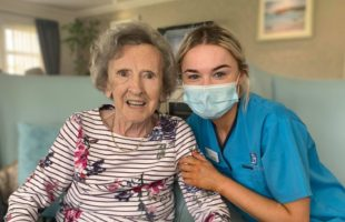 Balhousie Care Group resident and staff member | Nursing Home Agency Advice