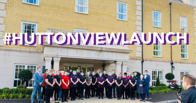 Staff standing outside Hutton View Care Home for launch | Nursing Home Agency Advice