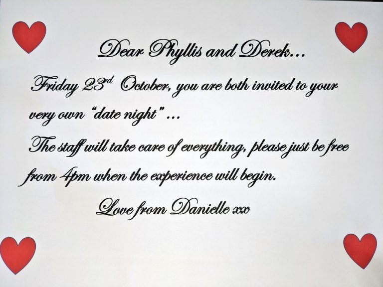 Date night invitation for Phyllis and Derek