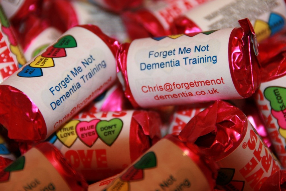 Forget Me Not Dementia Training loveheart sweets | Nursing Home Advice