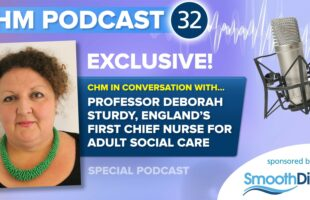 grapic for CHM podcast | Care Home News