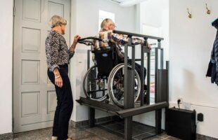 Platform lift in operation | Care Home Information